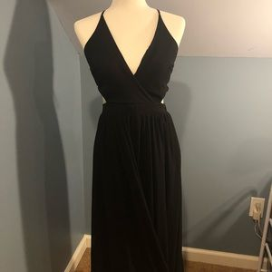 Black elegant strap up maxi dress